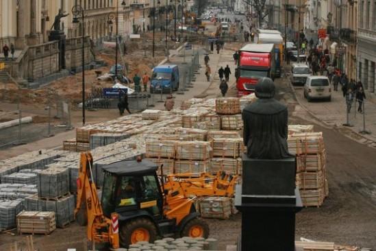 Rozkopane Krakowskie Przedmieście/ Fot. Jacek Łagowski / AG
