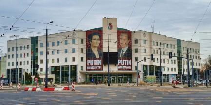 Gronkiewicz-Waltz jak Putin? Kontrowersyjny plakat na bemowskim urzędzie