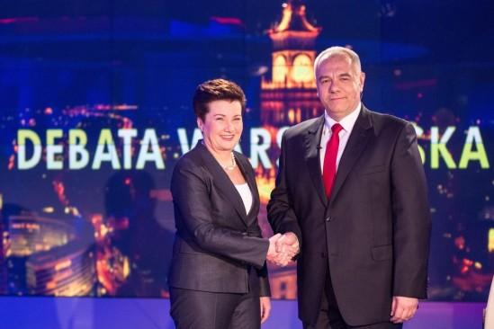 Hanna Gronkiewicz-Waltz i Jacek Sasin podczas debaty prezydenckiej w 2014 roku. Fot. Bartosz Bobkowski/Agencja Gazeta
