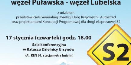 Spotkanie dla warszawiaków ws. Południowej Obwodnicy Warszawy
